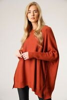 New Oversized Ladies Italian Boxy Lagenlook Split Sides Poncho Look Jumper Top
