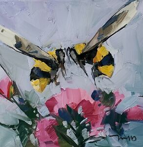 JOSE TRUJILLO Oil Painting IMPRESSIONISM 12X12 BEES FLOWERS FLORAL COLLECTIBLE