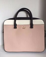 """NWT Kate Spade Saffiano Leather Bag 13"""" Laptop Case Briefcase Xbody- Black/Beige"""