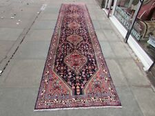 Vintage Traditional Hand Made Oriental Blue Red Pink Wool Long Runner 456x104cm