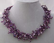 Chunky Purple Czech Glass Bead Stone Chip Necklace Magnetic Fashion Jewelry NEW