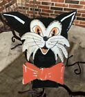 """Vintage Repro Silly White Cat 4 Colors Bowtie Halloween Cardstock Decoration,8"""""""