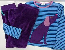 MINI BODEN 2 Piece Outfit Set Blue Purple Applique Dog LS Shirt Pants SIZE 8 9