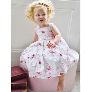 *SALE* Powell Craft Girls White Pink ROSE Dress Sundress Summer 2-3 /& 4-5 yrs