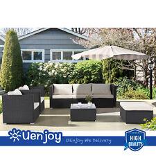 New listing Black 7Pc Patio Pe Rattan Furniture Wicker Sofa Set Backyard Outdoor Garden