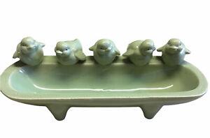 Green Birds Ceramic Vintage Bird Bath Feeder Perched Birds House Garden Decor