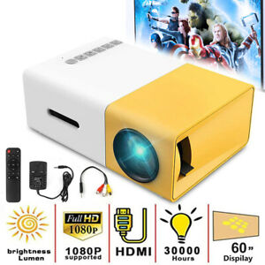 1080P Full HD Mini Home Projector LED Video Theater Cinema USB HDMI AV SD YG300