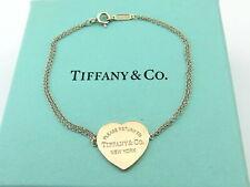 TIFFANY & CO Silver Rubedo Metal Return to Tiffany Heart Double Chain Bracelet