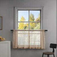 Jola's House Kitchen Tier Curtains for Cafe Bathroom Window Curtain, Taupe