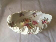 ANTIQUE VINTAGE PROV SAXE ES Serving  Bowl Floral Clam Shell Collectible GERMANY
