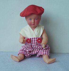 ancien poupon poupée PETITCOLLIN CELLULOÏD Bébé Vichy Rouge Vintage DOLL