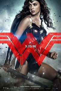 Batman V Superman Dawn Of Justice Original DS Movie Poster Style E Wonder Woman