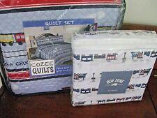 Boys Kids Trains bed quilt set & sheet set  CHUGGA CHOO CHOO TRAIN Twin size