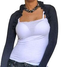 Ladies Bolero Womens Shrug Cropped Top Cardigan Long Sleeve Stretch Size 8 10 12
