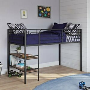 HOT NEW  Kids Metal Twin Loft Bed with Open Book Shelf, Multiple Finishes