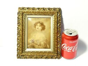 Antique Crystoleum Young Woman with Headband Holding Flowers in Gilt Frame a/f