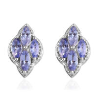 Platinum Over 925 Sterling Silver Blue Tanzanite Cluster Earrings Jewelry Ct 1