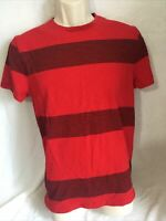 Mens Old Navy Tshirt Size M Premium Red Maroon  Red Stripes