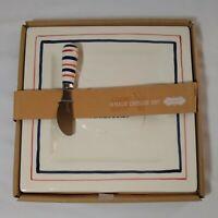 Mud Pie Whale Cheese Plate/Knife Set Red/White/Blue 'Whalecome' Nautical Coastal