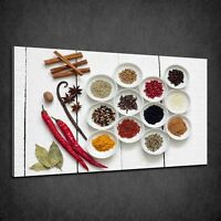 HERBS KITCHEN SPICES DRIED VEGETABLES FOOD BOX CANVAS PRINT WALL ART PICTURE