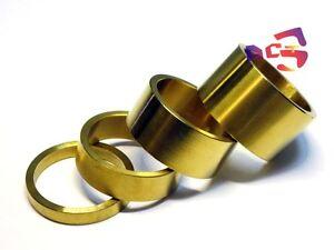 "4pcs Titanium / Ti Spacer 1-1/8"" (5-10-15-20mm) Gold Color - Headset Stem Use"