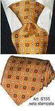 Cravatta pura seta stampata gialla Made in Italy cravate corbata tie ST55