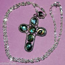 FANCY NEW ZEALAND ABALONE CHRISTIAN CROSS NECKLACE B29F USA MADE Lovely Chain