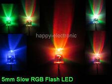 50 pcs 2PIN 5mm Slow RGB Flash Rainbow MultiColor LED