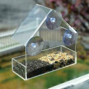 Clear House Window Bird Feeder Birdhouse With Suction Feeding Garden E9N8