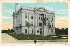 Dodge City KS~Thin Trunk Trees @ Ford County Court House~1920s Postcard