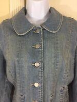 Vintage Ann Taylor LOFT Size 14 Stretch Denim Blue Jean Peplum Blazer Jacket