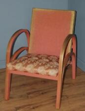 Vintage Retro Petite Gold & Pink Lloyd Loom Style Wicker Bedroom Chair