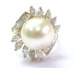 South Sea Pearl & Diamond Ring 18kt Yellow Gold 12.1mm 1.34Ct