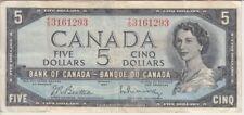 Canada Banknote P77b-1293 5 Dollars 1954 CNBC Sig Beattie -Rasminsky, VF