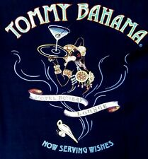 "~TOMMY BAHAMA MENS sz M 100% SILK EMBROIDERED ""SERVING WISHES"" SHIRT~ 47"" CHEST"