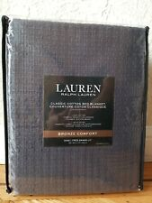 "New Lauren by Ralph Lauren Classic Cotton KING Bed Blanket 108""x90"" (Dark Grey)"