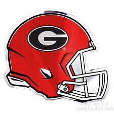 Georgia Bulldogs Helmet Raised Color Chrome Metal Auto Emblem University of