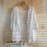 Chic Open Front Boho Knit Sweater Crochet 3/4 Sleeve Long Top Blouse Cardigan Z1