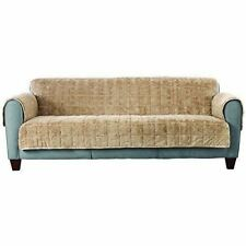 Sure Fit Faux Fur Reversible  Quilted Sofa Slipcover ~ Navy Color