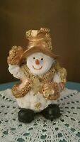 """Vintage Gold Hat Scarf Mittens Snowman Figurine Star Ceramic or Resin So Cute 5"""""""