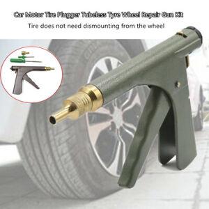 Car Motorcycle Tire Plugger Tubeless Tyre Wheel Repair Gun W/Rubber Plug+Nozzle