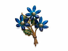 Lovely Antique Enameled Brass & Blue Flowers With Pearl Center Pin/Brooch