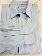 New YVES SAINT LAURENT Long Sleeve Dress Shirt Blue Stripe Mens 17 1/2 34-35 D47