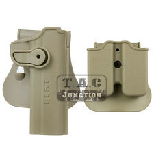 Tactical Retention Rotate Right Hand Holster for Colt 1911 w/Magazine Pouch