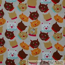 BonEful Fabric Fq Cotton Quilt Brown Pink Red White Kitty Cat Face Flower Calico