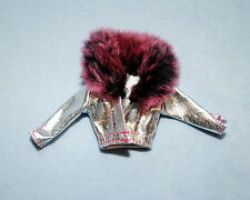 CITY STYLE Shiny Silver Genuine BARBIE Jacket Coat w/ Purple Faux Fur Collar