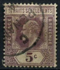 Straits Settlements 1902-3 SG#113, 5c Dull Purple KEVII Used #D46779