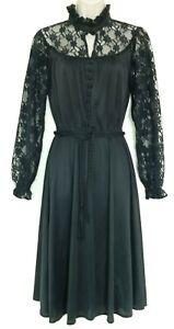 Ladies vintage black lace dress long sleeve gothic Halloween vampire wife style