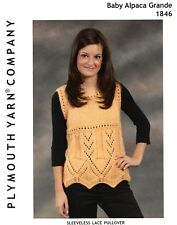 "Plymouth KNITTING PATTERN #1846 Baby Alpaca Grande Sleeveless Lace Top - 36""-52"""