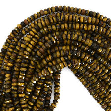 """6mm faceted tiger eye rondelle beads 15.5"""" strand"""
